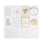 American Crafts - Dear Lizzy Collection - Documentary - 12 x 12 Acetate Paper with Foil Accents - Heart of Gold