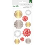 American Crafts - Christmas - Foil Stickers - Gold, Silver, and Red Accents