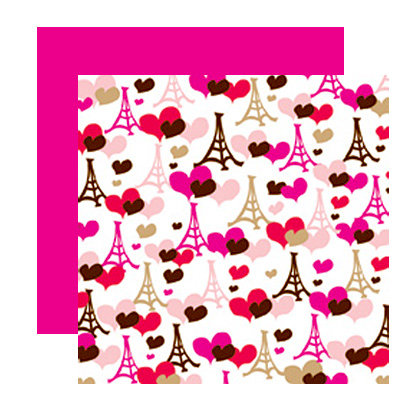 American Crafts - I Heart You Collection - 12 x 12 Double Sided Paper with Glitter Accents - Sweetums, CLEARANCE