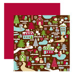 American Crafts - Merrymint Collection - Christmas - 12 x 12 Double Sided Paper with Glitter Accents - Sugar Land, CLEARANCE