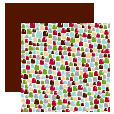 American Crafts - Merrymint Collection - Christmas - 12 x 12 Double Sided Paper with Foil Accents - Gumdrops, CLEARANCE