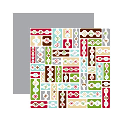 American Crafts - Merrymint Collection - Christmas - 12 x 12 Double Sided Paper with Foil Accents - Popcorn