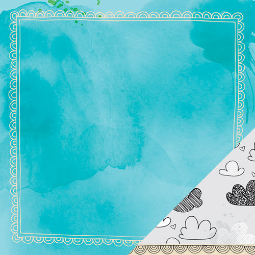 American Crafts - Amy Tangerine Collection - Sketchbook - 12 x 12 Double Sided Paper - Indigo Inspiration