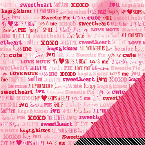American Crafts Paper - XOXO Collection - 12 x 12 Double Sided Paper - Smitten