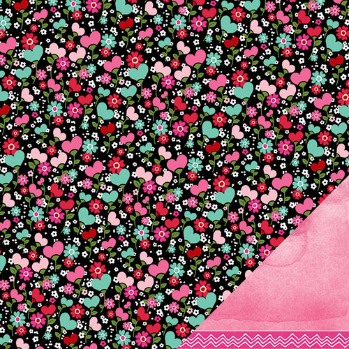 American Crafts Paper - XOXO Collection - 12 x 12 Double Sided Paper - Hugs and Kisses
