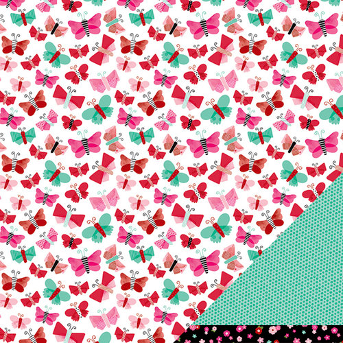 American Crafts Paper - XOXO Collection - 12 x 12 Double Sided Paper - Love Note
