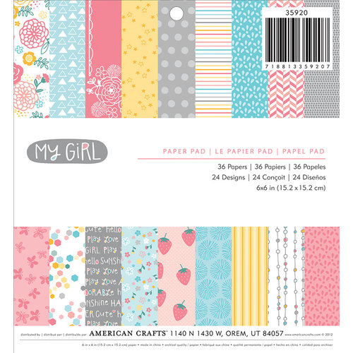 American Crafts - My Girl Collection - 6 x 6 Paper Pad