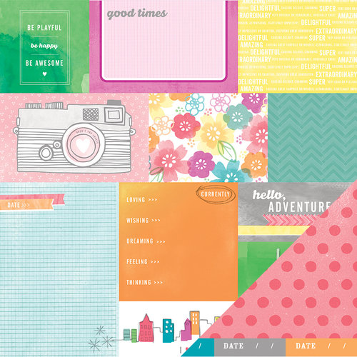 American Crafts - Amy Tangerine Collection - Yes, Please - 12 x 12 Double Sided Paper - Currently