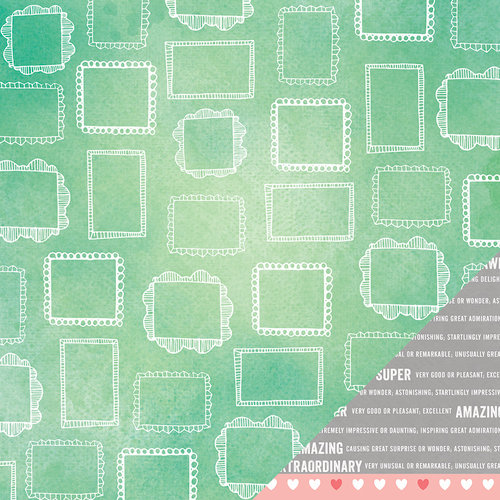 American Crafts - Amy Tangerine Collection - Yes, Please - 12 x 12 Double Sided Paper - Sentiment