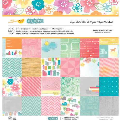 American Crafts - Amy Tangerine Collection - Yes, Please - 12 x 12 Paper Pad