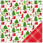 American Crafts - Be Merry Collection - Christmas - 12 x 12 Double Sided Paper - Stockings