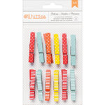 American Crafts - Whittles - Decorated Clothespins - Dots and Stripes