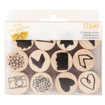 American Crafts - Amy Tangerine Collection - Rise and Shine - Wood Stamps - Icons