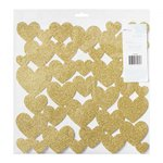 American Crafts - Dear Lizzy Collection - Fine and Dandy - 12 x 12 Die Cut Foam Hearts - Glitter Gold