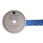 American Crafts - Glitter Ribbon - Blue Polka Dot - 0.825 Inch - 3 Yards
