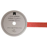 American Crafts - Glitter Ribbon - Red Polka Dot - 0.625 Inch - 3 Yards