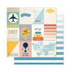 Pink Paislee - Atlas Collection - 12 x 12 Double Sided Paper - Take Flight