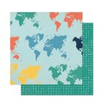 Pink Paislee - Atlas Collection - 12 x 12 Double Sided Paper - Here and There