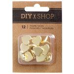 American Crafts - DIY Shop 3 Collection - Heart Thumbtacks - Gold