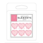 American Crafts - Brads - Glitter - Pink Hearts