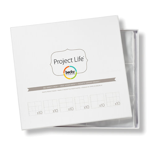 American Crafts - Becky Higgins - Project Life - Photo Pocket Pages - Fits 12 x 12 Three Ring Albums - Big Variety Pack 1 - 60 Pack