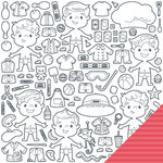 Imaginisce - Family Fun Collection - 12 x 12 Double Sided Paper - Paper Guys