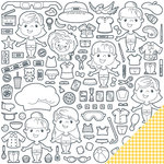 Imaginisce - Family Fun Collection - 12 x 12 Double Sided Paper - Paper Dolls