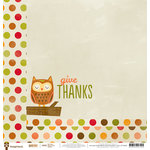 Imaginisce - Give Thanks Collection - 12 x 12 Double Sided Paper - Hello Autumn