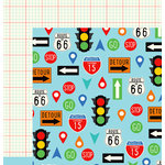 Imaginisce - Happy Traveler Collection - 12 x 12 Double Sided Paper - Highway