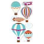 American Crafts - Remarks - 3 Dimensional Stickers with Glitter Accents - Zeppelin, CLEARANCE