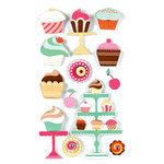 American Crafts - Remarks - 3 Dimensional Stickers with Glitter Accents - Sweet Tooth
