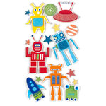 American Crafts - Remarks - 3 Dimensional Stickers with Glitter Accents - Intergalactic, CLEARANCE