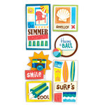 American Crafts - Heat Wave Collection - Remarks - 3 Dimensional Stickers with Glitter Accents - Shello, CLEARANCE