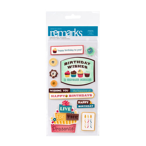 American Crafts - Confetti Collection - Remarks - 3 Dimensional Stickers - Pinata Phrases