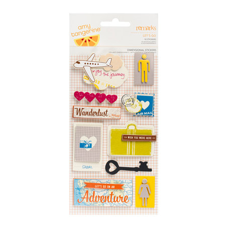 American Crafts - Amy Tangerine Collection - Remarks - 3 Dimensional Stickers - Let's Go