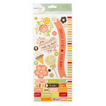 American Crafts - Dear Lizzy Neapolitan Collection - Remarks - Sticker Sheet - Borders, Accents and Phrases