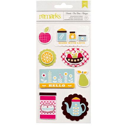 American Crafts - Fresh Squeezed Collection - Remarks - 3 Dimensional Stickers - Bushel