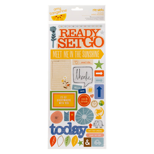 American Crafts - Amy Tangerine Collection - Ready Set Go - Remarks - Sticker Sheet - Accent and Phrase - Delighted