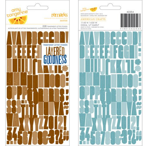 American Crafts - Amy Tangerine Collection - Ready Set Go - Remarks - Transparent Letter Stickers - Baxter - Brown and Blue