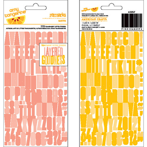 American Crafts - Amy Tangerine Collection - Ready Set Go - Remarks - Transparent Letter Stickers - Baxter - Pink and Yellow