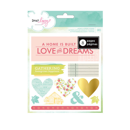 American Crafts - Dear Lizzy 5th and Frolic Collection - Remarks - Sticker Book - Accents and Phrases