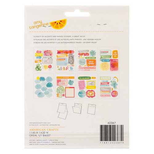 American Crafts - Amy Tangerine Collection - Yes, Please - Remarks - Sticker Book - Accents and Phrases - Noteworthy