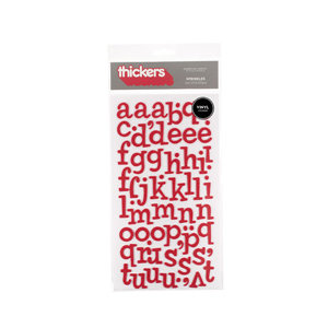 American Crafts - Thickers - Vinyl Letter Stickers - Sprinkles - Red, CLEARANCE