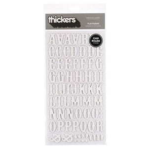 American Crafts - Thickers - Chipboard Letter Stickers - Platforms - White