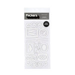American Crafts - Thickers - Chipboard Shape Stickers - Accents - White