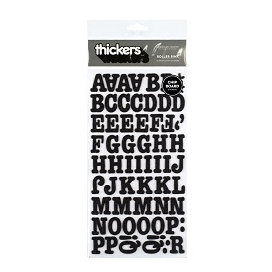 American Crafts - Thickers - Glitter Chipboard Letter Stickers - Roller Rink - Black, CLEARANCE