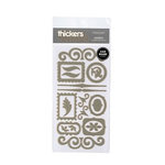 American Crafts - Thickers - Chipboard Shape Stickers - Accents - Silver, CLEARANCE