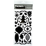American Crafts - Thickers - Tinsel Accents - Foil Chipboard Stickers - Black, CLEARANCE