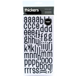 American Crafts - Thickers - Fabric Chipboard Alphabet Stickers - Patchwork - Black, CLEARANCE