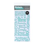 American Crafts - Abode Collection - Thickers - Glossy Chipboard Stickers - Tenant Phrases - Robins Egg